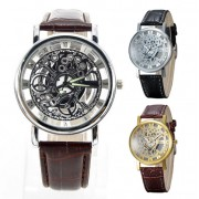 114 Skeleton Dial Men Leather Quartz Wrist Watch